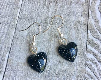 Black Glitter Earrings - Glitter Heart Earrings - Black Earrings - Women's Earrings
