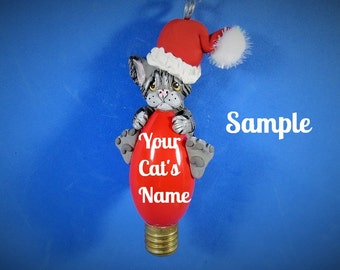 Grey Tabby Santa Kitty Cat Christmas Holidays Light Bulb Ornament Sally's Bits of Clay PERSONALIZED FREE with cat's name