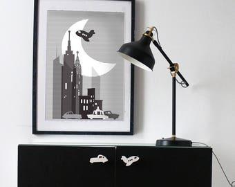 New York city poster- black and white - New York city - nursery
