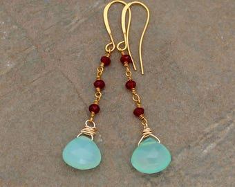 Aqua Chalcedony and Garnet Earrings, Garnet Earrings, Chalcedony Earrings, Line earrings, Briolette Earrings - Aqua and Red - Beaded Earring