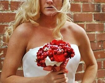 I Heart YOU- Romantic Lace Red Sweetheart Bridal Cap-CRBoggs Designs Original