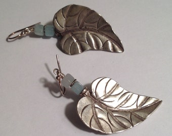 Leafy Sterling Silver Earrings Amazonite Aqua Mint Blue-Green Dangle