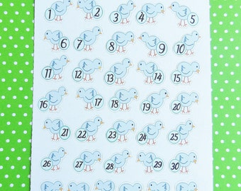 Welcome Spring Blue Chick Calendar Planner Stickers - Easter Calendar Stickers - Scrapbook Calendar Spring Stickers