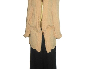 Vintage Stunning Rare Norma Walters Rare Avant Garde Long Heavy Shoulder Pads Turnback Cuffs Slouchy Sweater Knit Jacket Size 12