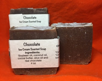 Chocolate Scented Bubbly Natural Soap Bar Handmade