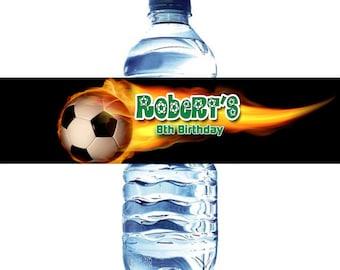 Soccer Water Bottle Label Digital File  - Soccer Ball water bottle label DIY - Fire Soccer Ball Water Bottle label