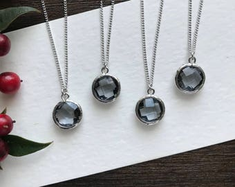 Gray and silver Bridesmaid necklace set, bridesmaid jewelry set, bridesmaid gift, flower girl gift