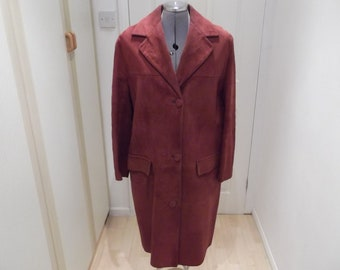 Red suede coat Suedalope 1960's Size 16