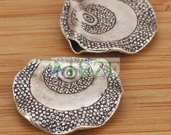 HIZE SB675 Thai Karen Hill Tribe Silver Wavy Disc Coin Top-hole Focal Beads 23mm (2)
