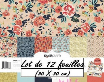 "Set of 12 leaves theme ""Blubelle"" Kaiser 30 X 30 cm (réf.210) scrapbooking Crafts *."