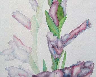 Original watercolor painting of Gladiolas, ready to frame and hang.