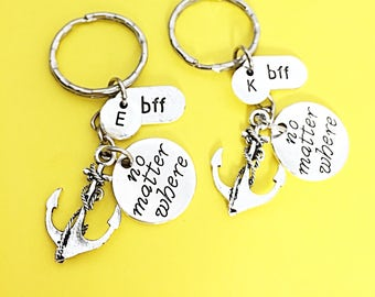 Sale SET OF 2 Personalized BFF Keychains Gift For Best Friend Monogram Initial Friendship Keychain For Two No Matter Where  Distance Gift