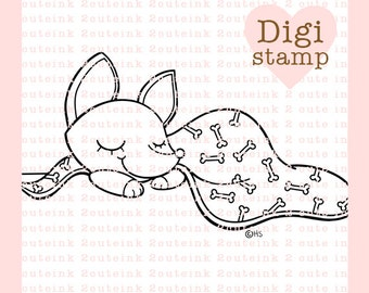 Sleepy Time Pup Digital Stamp for Card Making, Paper Crafts, Scrapbooking, Invitations, Stickers, Cookie Decorating, Chihuahua