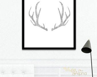 Textured Grey Deer Antler Print, Minimalist Art Printable, Deer Antler, Antler Wall Art Print, Minimalist Grey Printable, Scandinavian Print