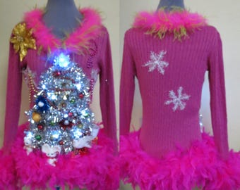 Vision in Pink Christmas 2 Doves Pears in White Garland Christmas Tree Ugly Christmas Sweater Light UP Sweater, Size S Small, Pink boa