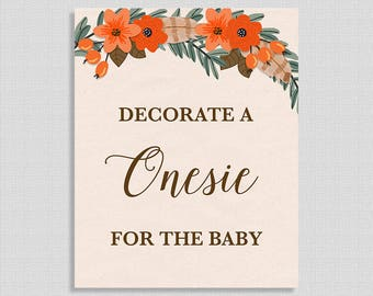 Decorate a Onesie for the Baby Sign, Fall Wreath Shower Sign, Autumn Boho Floral,  INSTANT PRINTABLE