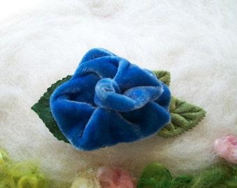 Velvet Rose Hair Clip Silk Blue Velvet Green Leaves and Foliage Velvet Rose Lapel Clip Scarf Clip Collar Clip Hat Clip Handmade