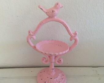 Pink Bird Feeder - Bird Bath - Shabby Chic Cottage - Ornate Cast Iron - Garden Art - Distressed -  Patio Porch Decor - Bird Figurine