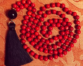 Red Sponge Coral Mala Necklace