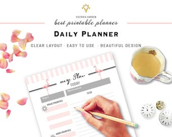 DAILY PLANNER insert, planner page, printable to do list, Letter Size, Printable Planner, Daily, printable, planner, Life Binder, Page