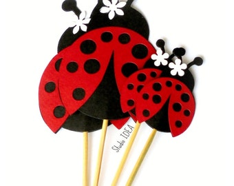 Red-Black Ladybug Cupcake Toppers & Centerpieces- Set of 2 sizes Red-Black lady bug toppers- or Choose Your Colors