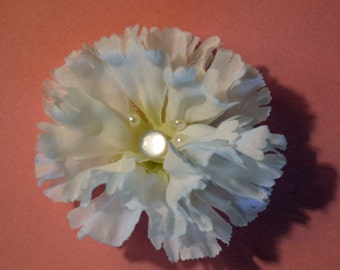 White hair flower clip with pearls, and alligator clip