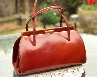 Tan Leather Handbag 1950s 1960s Classic Snap Top Kelly Bag for The Mad Men Look Suede Lining Gold Tone Fittings Twin Handles Made in England