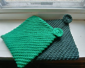 Crocheted Pot Holders -- Dark Sage Green Double Layered Crocheted Pot Holders