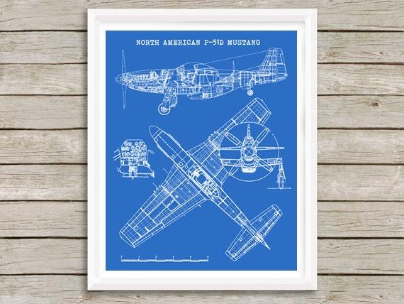 P51 mustang aircraft blueprint instant download north te gusta este artculo malvernweather Choice Image