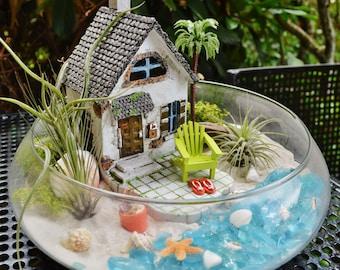 """Beach House Terrarium Kit ~ Beach House and Beach Chair ~ 3 Air plants ~ 10"""" Glass Bowl ~ Beach Bucket and Flip Flops ~ Beach Decor ~ Gift"""
