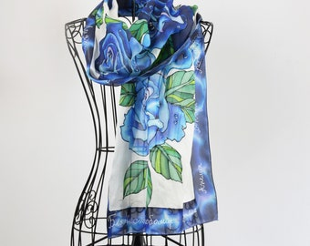 Hand painted silk scarf Deep blue Roses