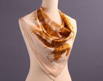 Vera Scarf 70s LEAF Print Lady Scarf Vintage Honey Gold Designer Scarf  Abstract Brush Strokes Printed Neck Scarf Muffle Hand Rolled Edges