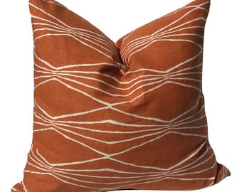 18in Pillow Cover, Decorative Pillow Cover, Tribal Pillow, Throw Pillow, Orange and White Pillow, Accent Pillow, Cushion Cover
