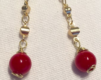 Earrings, coral and gold like chain