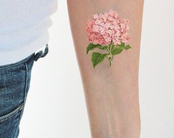 floral vintage temporary tattoo / colorful temporary tattoo / flower temporary tattoo / vintage hydrangea tattoo / boho tattoo