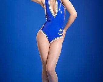 V-Neck Latex Sailor Bodysuit