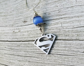 Superman Necklace, Superman Sign, Blue Necklace, Nerd Gifts, Silver Necklace, Semi Precious Stones, Superman Jewelry, Superman Emblem