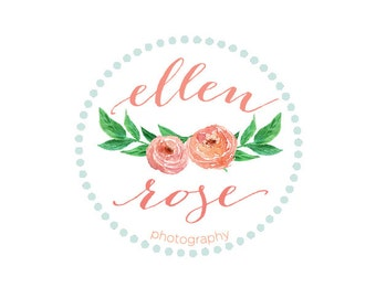 Peony Logo Design - Modern Logo - Pretty Logo - Photography Logo - Rose logo - Round Logo - freshmint paperie