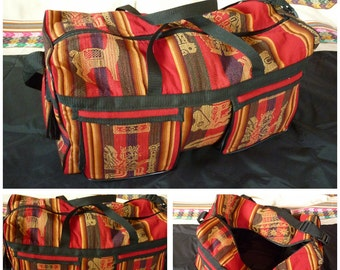 Travel bag made of Andean blanket from Peru