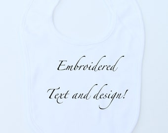 Baby Bib 100% Organic Thick and Soft Cotton White, Personalized