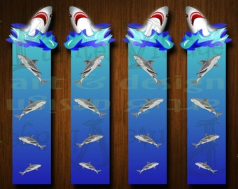 Printable Bookmark - DIY Shark Bookmark - A Shark Rushes From Inside Your Book - Set of 4