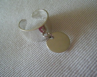 Large silver ring and adjustable round Medal (free hand engraving)