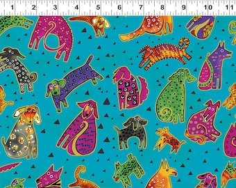 Laurel Burch Fabric Dog & Doggies All Over Dog Print on Blue Y1800-33M