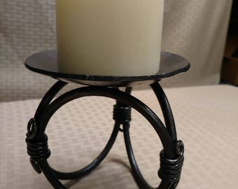 Triple Circle Hand Forged Iron Pillar Candle holder