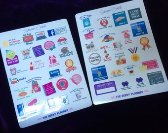 2 page set Sarcasm central f*ck it cant even funny adult planner stickers  kikki k happy planner filofax