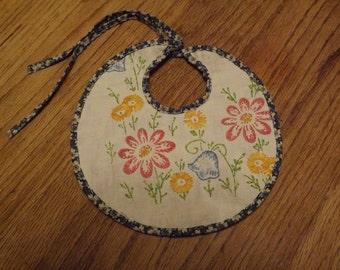 Handmade Baby Bib With Vintage Embroidery Embellishment
