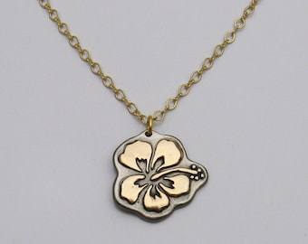 Mixed Metal Necklace, Hibiscus Necklace, Flower Necklace, Gold Necklace, Gray Necklace, Bronze Necklace, Mixed Metal Jewelry Hibiscus Flower
