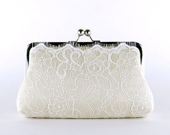 Champagne Lace Bridal Clutch, Silk Clutch,  Bridesmaid Gift, Wedding clutch