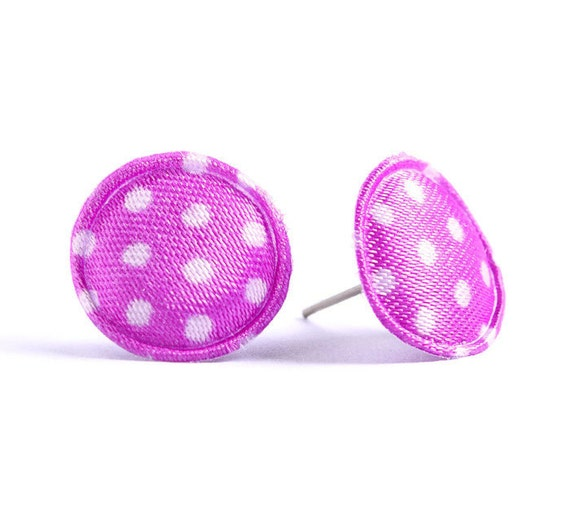 Purple polka dots applique satin hypoallergenic studs earrings (423)