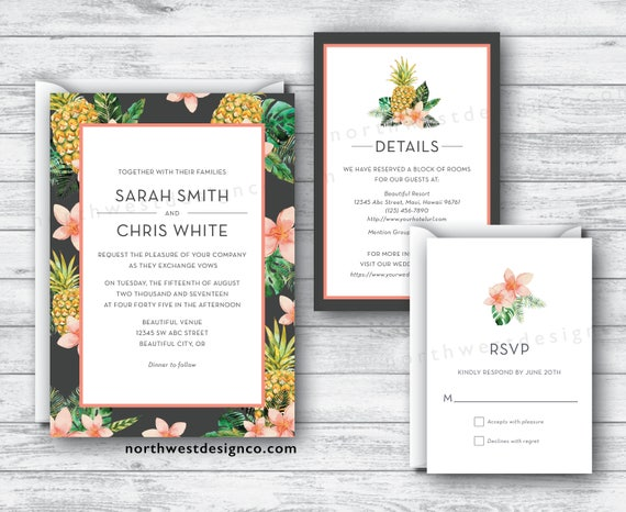 Target Wedding Invitations Kits: Tropical Wedding Invitation Set Charcoal Gray 3 Peach Coral